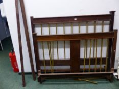 AN INLAID MAHOGANY DOUBLE BED FRAME FOR RESTORATION.