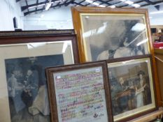 A LARGE MAPLE FRAMED PRINT, A NEEDLE POINT SAMPLER, AND THREE FURTHER PRINTS.