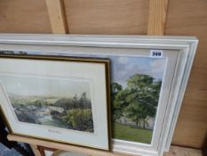 A PAIR OF OIL PAINTINGS BY CLAUDE HORSFELL TOGETHER WITH A PRINT.