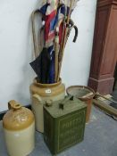 A QUANTITY OF UNION FLAGS, WALKING STICKS, STONE WARE POTS AND A FUEL CAN.