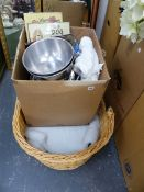 WICKER DOG BED, BOWLS, TOWELS ETC.