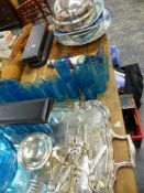A SILVER PLATED MEAT COVER VARIOUS POTTERY MEAT PLATTERS, A SET OF BLUE GLASS DRINKING GLASSES,