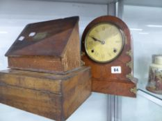 A VICTORIAN WALNUT MANTLE CLOCK AND TWO WRITING BOXES.