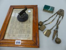 AN AGATE MOUNTED WHITE METAL BOX, A BRASS CHATELAINE, A BRONZE PAPERWEIGHT ETC.