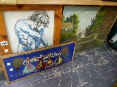 A TILE PANEL AND TWO PAINTINGS.