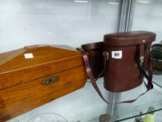 TWO PAIRS OF BINOCULARS, AND A 19TH C. TEA CADDY.