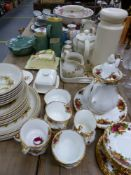 A ROYAL ALBERT OLD COUNTRY ROSE TEA SERVICE, AN ORIENTAL TEA SET, AND OTHER CHINA WARES.