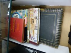 THREE STAMP ALBUMS, A VICTORIAN PHOTO ALBUM, AND OTHER LOOSE STAMPS.