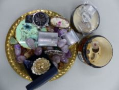SILVER PROOF COIN, POLISHED QUARTZ STONES, A SEIKO WATCH, A DOUBLE RHINESTONE DRESS CLIP ETC.