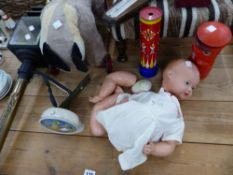 A CARRIAGE TYPE LANTERN, A DOLL, PUSH ALONG TOY, SOOTY ALARM CLOCK ETC.