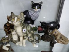 A WINSTANLEY CAT FIGURINE AND VARIOUS OTHERS.