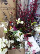 TWO BOXES OF ARTIFICIAL FLOWERS.