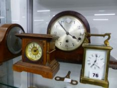 A BRASS CASED CARRIAGE CLOCK AND THREE MANTLE CLOCKS.