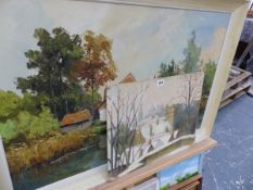 TWO LARGE OIL PAINTINGS, WATER COLOURS AND OTHER PICTURES.