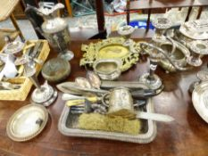 A QUANTITY OF SILVER PLATED WARES ETC.