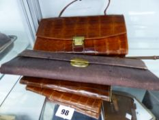 A VINTAGE CROCODILE SKIN HANDBAG, TWO LEATHER WALLETS, A CIGARETTE CASE ETC.