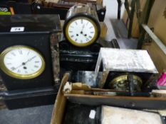 THREE VICTORIAN SLATE AND MARBLE MANTLE CLOCKS.