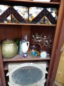 A COLLECTION OF DECORATIVE CHINA AND GLASS, A VINTAGE WINDOW ETC.