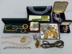COSTUME JEWELLERY, COINS,A FOUNTAIN PEN ETC.