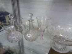 A PAIR OF CUT GLASS DECANTERS, FOUR ANTIQUE RUMMERS ETC.