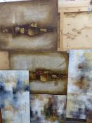 FIVE LARGE ABSTRACT IMPASTO PICTURES ON CANVAS.