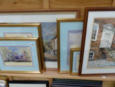 A GROUP OF FOUR ABSTRACT WATER COLOURS, TOGETHER WITH TWO WATER COLOUR STREET STUDIES BY ROBERT