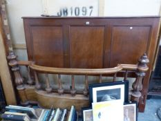 A VICTORIAN AND LATER DOUBLE BED FRAME.