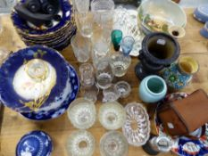 A LATE VICTORIAN PART DESSERT SERVICE, A DOULTON SERIES WARE, VARIOUS GLASS WARE, A POLO TABLE