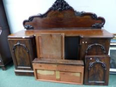 A VICTORIAN MAHOGANY INVERTED BREAKFRONT SIDEBOARD.
