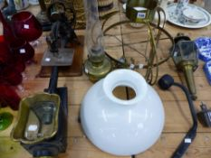 AN ART NOUVEAU HANGING OIL LAMP, A CARRIAGE LAMP, VINTAGE SEWING MACHINE ETC.