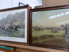 TWO LARGE STEEPLE CHASE PRINTS.