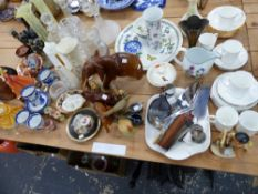 A COLLECTION OF GLASS WARES, DOULTON FIGURINES, ORNAMENTAL CHINA AND PLATED WARES, AND HALLMARKED