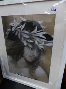 COLIN FROOMS ORIGINAL PASTEL, GIRL IN A FEATHER HAT.