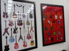 A PAIR OF POSTER PRINTS, GUITAR HEAVEN AND HELL.