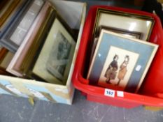 A QUANTITY OF DECORATIVE FURNISHING PRINTS, SMALL WATER COLOUR, ENGRAVING ETC.