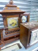 FOUR MANTLE CLOCKS AND A TRAY.