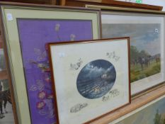 SIGNED LIMITED EDITION HORSE RACE PRINT BY MADELINE SELFE, TWO FURTHER PRINTS AND AN EMBROIDERY.