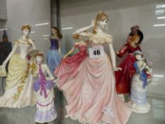 A QUANTITY OF COALPORT, DOULTON AND WORCESTER FIGURINES.