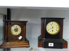 TWO VICTORIAN MANTLE CLOCKS.