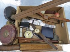 A GROUP OF SIX WRIST WATCHES, A POCKET WATCH, TREEN FOLDING RULERS, TAPE MEASURES ETC.