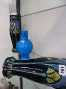 A PAIR OF ARTS MOVEMENT POTTERY VASES AND A MINTONS SMALL BLUE EWER.