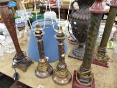 TWO PAIRS AND TWO OTHER CLASSICAL STYLE TABLE LAMPS, ETC.