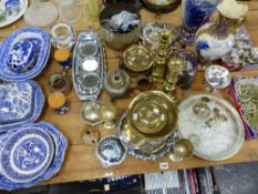 A QUANTITY OF BLUE AND WHITE TUREEN COVERS, TWO VASES, SILVER PLATED WARES, HORSE BRASSES ETC.