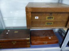 TWO OAK CUTLERY BOXES AND VARIOUS CUTLERY.