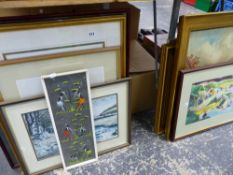 A SMALL COLLECTION OF WATERCOLOURS, PRINTS, AN OIL PAINTING ETC.