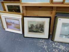 THREE BAXTER PRINTS,A SIGNED WATERCOLOUR, A SIGNED SMALL OIL PAINTING, AND OTHER PRINTS ETC.