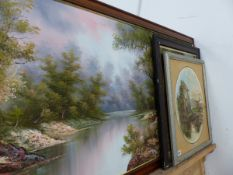 A LARGE OIL PAINTING AND TWO PRINTS.