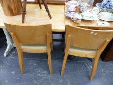 A OAK TOP TRESTLE TABLE, A PUB TYPE TABLE AND TWO CHAIRS.