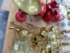 A QUANTITY OF BRASS WARES, KITCHEN SCALES ETC.