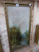 A VICTORIAN GILT FRAMED OIL ON CANVAS.